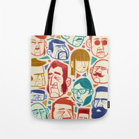 faces Tote Bags featuring Faces by Lawerta