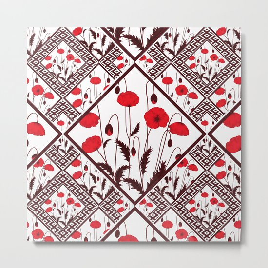 Bright floral pattern on a white background with decorative elements. Metal Print