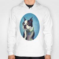 terrier Hoodies featuring Boston Terrier by Jackie Sullivan