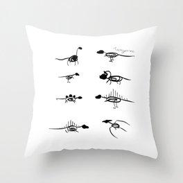 Scribble Dinos Throw Pillow