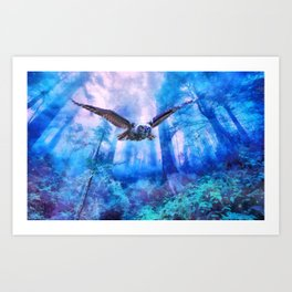 Owl flight Art Print