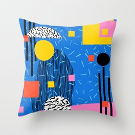 Crank - 80s retro throwback minimal abstract painting memphis style trendy vibes all day Throw Pillow