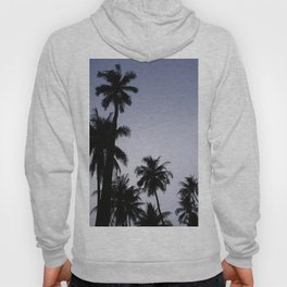 Tropical palm trees in sunset blue Hoody