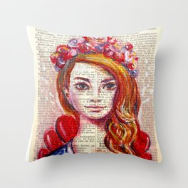 Floral Girl on dictionary page Throw Pillow