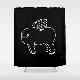 Cherub in Black Shower Curtain