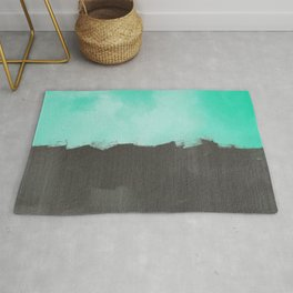 Two color abstract - blue, gray Rug
