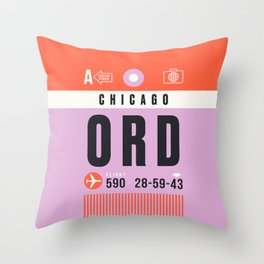 Luggage Tag A - ORD Chicago USA Throw Pillow