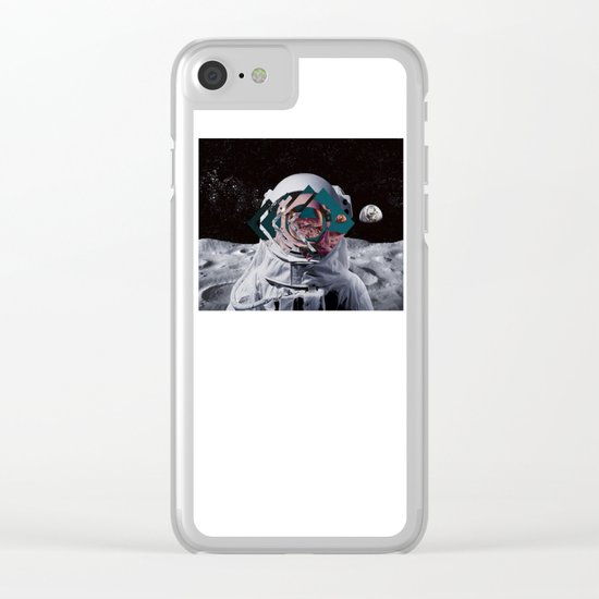 Spaceman oh spaceman, come rescue me (teal) Clear iPhone Case