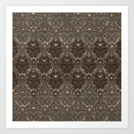 Oriental Pattern -Pastels and Brown Leather texture Art Print