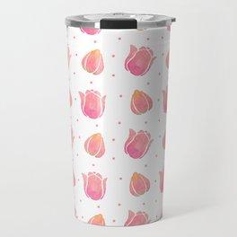 Hand painted blush pink coral watercolor tulip floral Travel Mug
