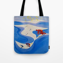 Vintage Winter Sports in France Travel Tote Bag