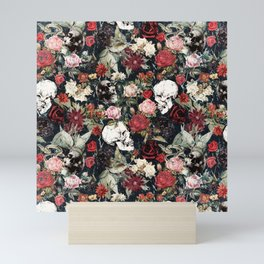 Vintage Floral With Skulls Mini Art Print