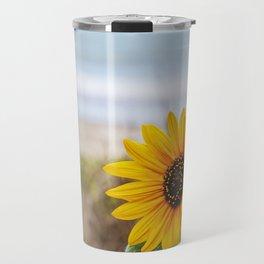 Sunflower near ocean Travel Mug