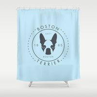 boston terrier Shower Curtains featuring Boston Terrier by Lulo The Boston Terrier