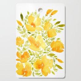 Watercolor California poppies (Quad set, #2) Cutting Board