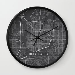 Sioux Falls Map, USA - Gray Wall Clock