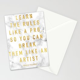 Learn the rules like a pro, so you can break them like an artist - quote picasso Stationery Cards