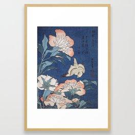 Katsushika Hokusai Peonies and Canary Framed Art Print