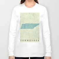 tennessee Long Sleeve T-shirts featuring Tennessee State Map Blue Vintage by City Art Posters