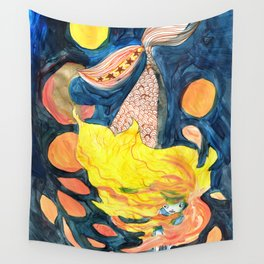 gold, Yellow and blue mermaid Wall Tapestry