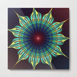 Starry fantasy flower with tribal patterns Metal Print