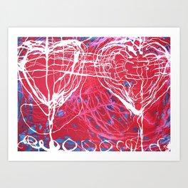 hearts couple Art Print