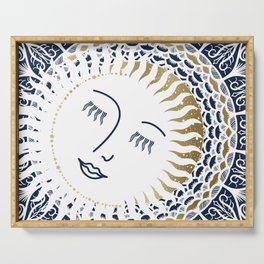 Resting Moon, Blue and Gold Serving Tray