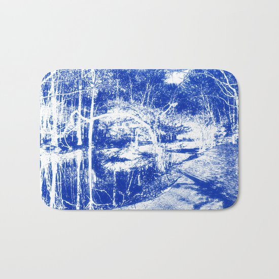 Looking in the water mirror-blue Bath Mat