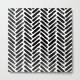 Painted Herringbone Stripe \\ Black & White Metal Print
