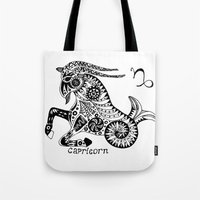 capricorn Tote Bags featuring Capricorn by Anna Shell
