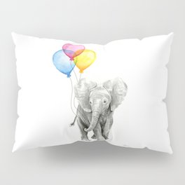 Baby Elephant with Balloons Nursery Animals Prints Whimsical Animal Pillow Sham