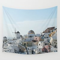 greece Wall Tapestries featuring Greece Villas by Limitless Design