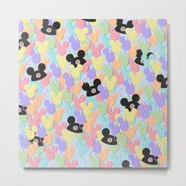 Pastel Mouse Ears Balloons Metal Print