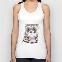 ferret Tank Tops featuring Hipster Ferret by Indi Maverick