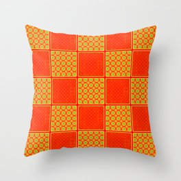 Orange Checks - Plain Orange and Orange Patterened Check Design Throw Pillow