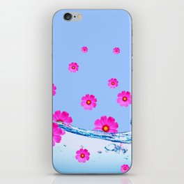 FUCHSIA PUPPLE COSMOS FLORAL PATTERN & WATER ART iPhone Skin