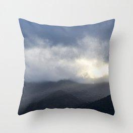 Light Streaming over mountains Throw Pillow