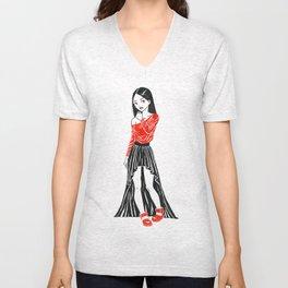 Girl in Dress Unisex V-Neck