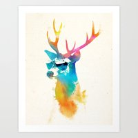 stag Art Prints featuring Sunny Stag by Robert Farkas