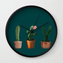 Three Cacti On Green Background Wall Clock