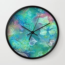 Water colors 3 - Blue and green corals Wall Clock