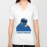 cookie monster V-neck T-shirts featuring Cookie Monster by Dano77