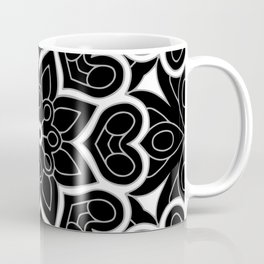 Black and White Flower Hearts Coffee Mug