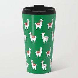 llamas cute nursery home decor alpaca pattern print by charlotte winter Travel Mug
