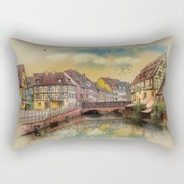 panorama city of Colmar France Rectangular Pillow