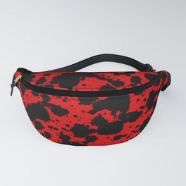 Bright Red and Black Funny Leopard Style Paint Splash Pattern Fanny Pack