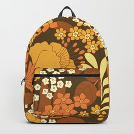 Brown, Yellow, Orange & Ivory Retro Flowers Backpack