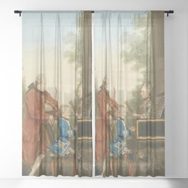 The Mozart family on tour: Leopold, Wolfgang, and Nannerl. Watercolor by Carmontelle, ca. 1763 Sheer Curtain