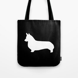 Corgi black and white welsh corgi silhouette dog breed custom dog patterns Tote Bag