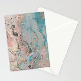 Fluid Art Acrylic Painting, Pour 17, Pastel Pink, Blue, Gray & White Blended Color Stationery Cards